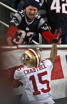 Crabtree had the game's biggest grab, a 38-yard touchdown after the Patriots had tied the score at 31.